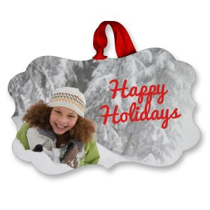 Add your photo and optional text to a beautiful fancy rectangle glossy ornament