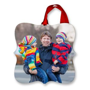 Add your photo to a fancy edge ornament with bright vibrant colors