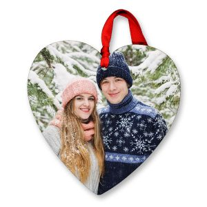Glossy photo ornaments are available in a variety of shapes, including hearts