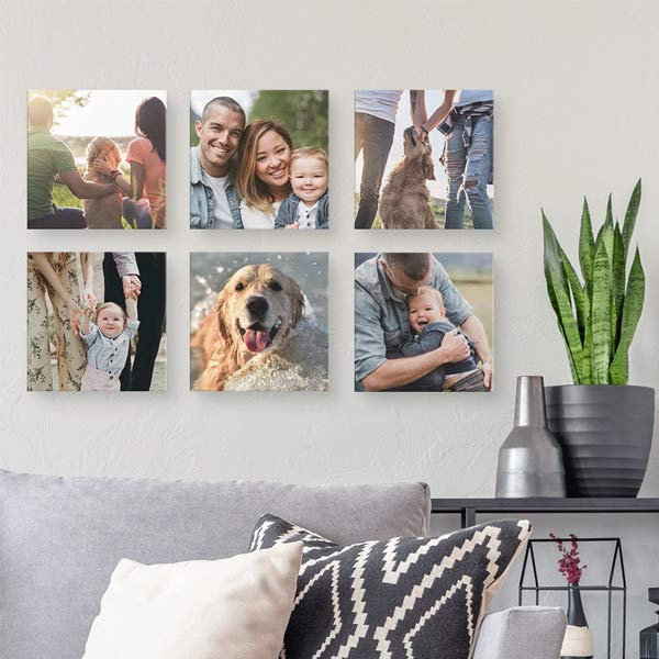 Floating canvas squares create a beautiful photo montage on your wall
