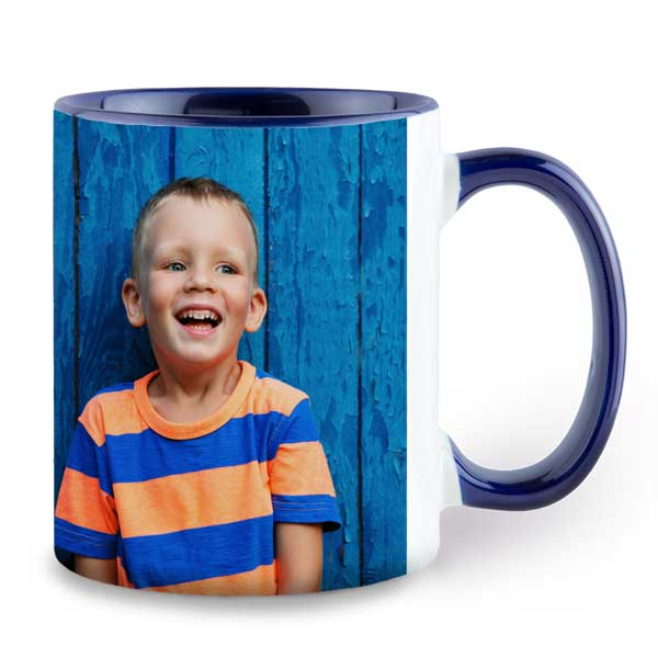 Add your photo to a custom mug and choose a color to accent your photo