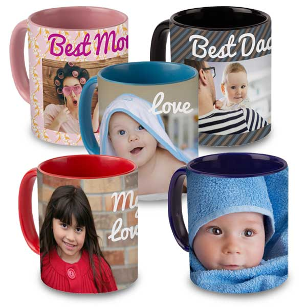 Bright and vibrant, create custom color accent mugs to show off your best memories