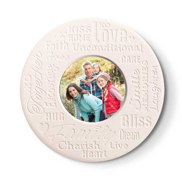 Add your photo to a set of round stone coasters with inspirational family text