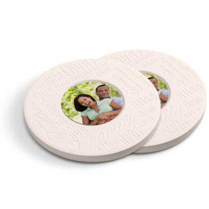 Round coasters look great in any home and the text provide a sense of warmth