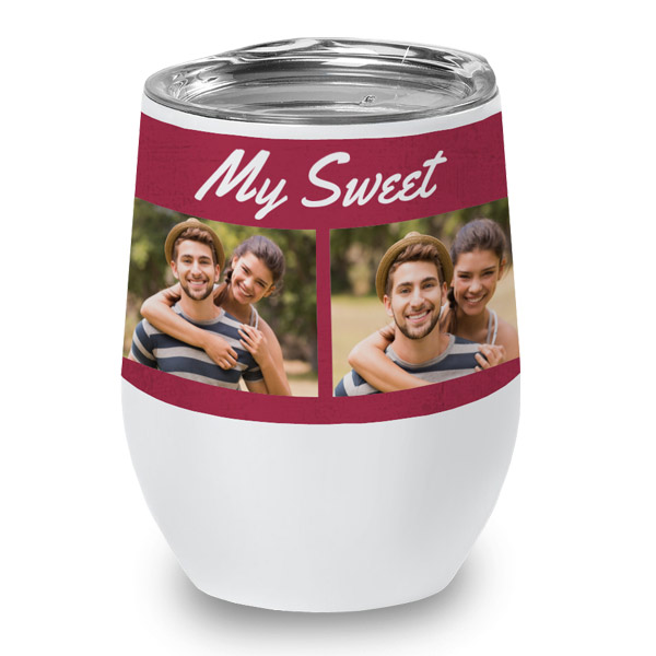 Create your own wine cup adding photos and text for a special occasion