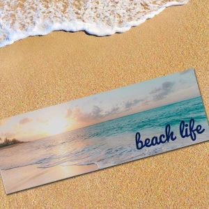 Add your own photos and text to create a custom beach mat so you can be comfortable on the beach
