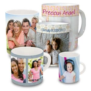 Create a classic white ceramic photo mug with your own personalized photo art