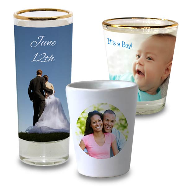 Create party favors and celebrate with personalized Shot Glasses