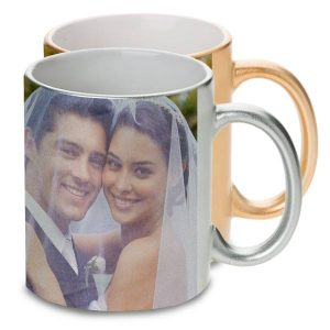 Elegant metallic mug available in silver and gold are perfect for special events and memories